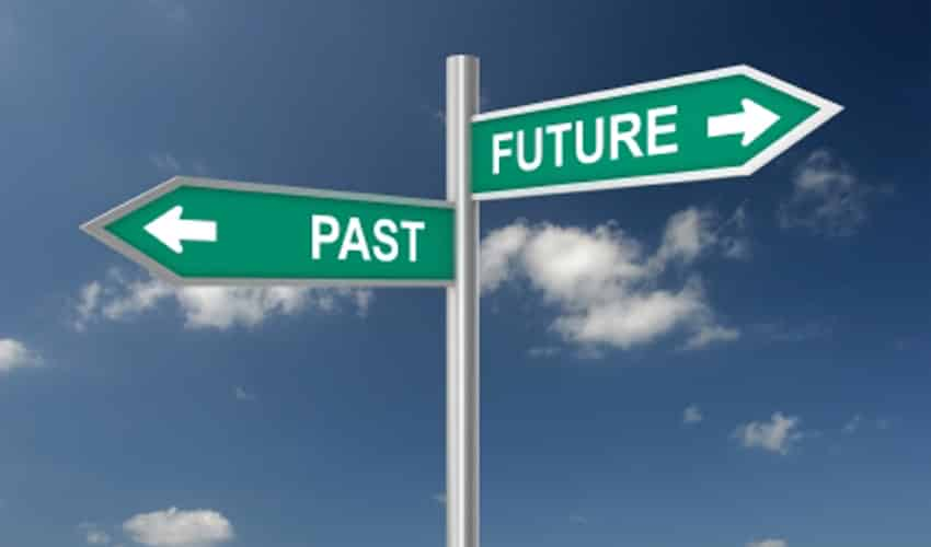 Past Future Road Signs Pointing Left And Right