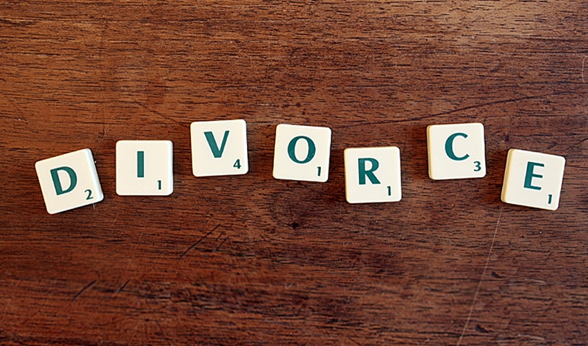 divorce spelled out in scrabble pieces